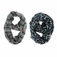 LOT OF 2X ASSORTED FASHION SCARF INFINITY COWL GREY LEOPARD & GRAY PLAID SCARVES