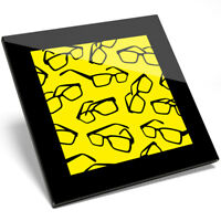 1 x Cool Glasses Art Yellow Glass Coaster - Kitchen Student Quality Gift #8678