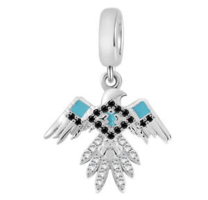 🦋💜œ STERLING SILVER 925 EAGLE SPREAD WINGS BIRD CHARM & POUCH BLUE