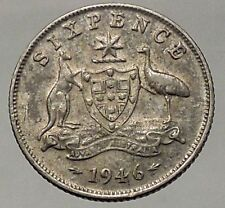 1946 AUSTRALIA - SILVER Sixpence Coin - UK King George VI Coat-of-Arms i57834