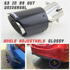 Durable Glossy Real Carbon Fiber Bent Straight Adjustable Angle Car Exhaust Pipe