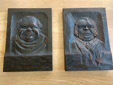 Pair Folk Art Monk wood carved plaques Provincetown, Ma Estate