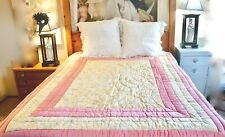 """Vtg AS IS Cotton Sateen Coverlet Quilt Wool Filled Pink & Beige Floral 66"""" x 80"""""""