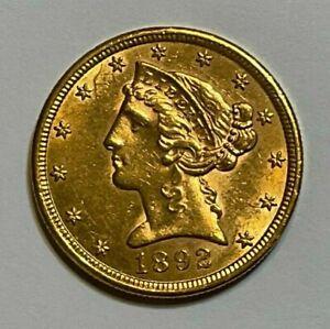 1892-S $5 Gold Liberty Head Half Eagle Coin, 7 Days Auction