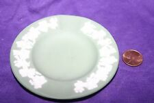 Wedgwood Jasperware Green Ashtray Dish with White Trim Made in England