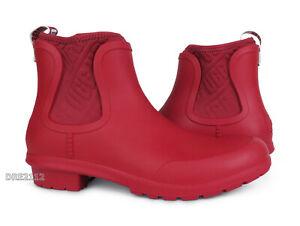 UGG Chevonne Ribbon Red Rain Boots (All Sizes) NEW