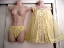 VINTAGE SHADOWLINE BABYDOLL DAFFODIL YELLOW NIGHTGOWN & PANTIES - SIZE SMALL