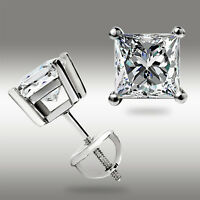 1.00 Ct. Princess Cut Solitaire Stud Earrings 14K White Gold Screw back Pierced