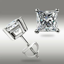 1.00Ct Stud Earrings 14K White Gold Princess Cut wScrewBack Nice Gift NO RESERVE