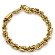 10k Yellow Gold Miami Cuban Diamond Cut Rope Link Bracelet, For Men/Women,