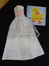 Barbie Bridal Wedding Gown Bride Prom Dress White Lace Trim Strapless