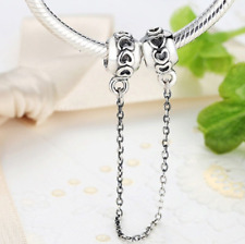 Genuine Authentic Pandora Charm Love Connection Silver Heart Safety Chain S925
