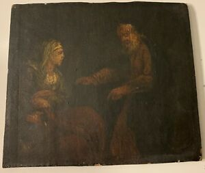 Antique 18th Century Oil Painting, Dutch? Old Man And Woman Clutching Something