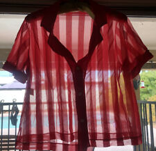 Vintage Jenelle Of California Red Chiffon Nylon Striped Bed Jacket Top Bust 40