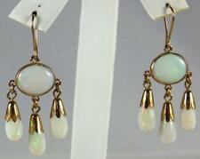 Wonderful Antique Victorian 10K Gold Opal Tear Drop Dangling Drop Earrings Wires