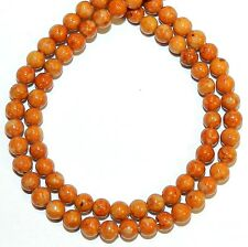 """GR510f Brown 4mm Round Handcut Riverstone Coral Fossil Gemstone Beads 16"""""""