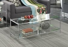 Modern Glass Coffee Table With Lower Shelf Rectangle Side End High Quality New