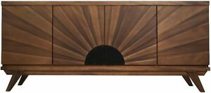 """72"""" L Sideboard Buffet Cabinet Solid Walnut Wood Dark Brown Finish hand Carved"""
