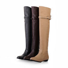Women Riding Motorcycle Boots Buckle Low Heel Over The Knee High Riding Boots