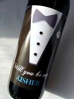 WILL YOU BE MY USHER WINE WEDDING DAY BOTTLE LABEL GIFT