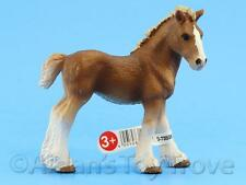 Schleich Model Horse Toy - 13671 Clydesdale Foal - Farm Life Figurine Chestnut