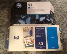HP Designjet 80 C4872A CYAN Printhead-Cleaner & Ink SEALED BOXES Jul 07 Jun 14