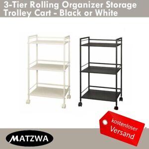 Rolling Organizer Lager Multi-purpose 3-Tier Trolley Cart Schwarz/Weiß