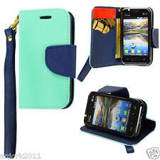 LG OPTIMUS FUEL ZONE 2 L34C VS415PP WALLET CASE W/CARD SLOTS FOLIO TEAL NAVY