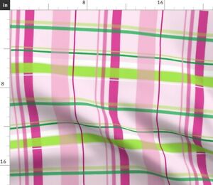 Pink Green Plaid Dots Stripes Baby Lime Spoonflower Fabric by the Yard