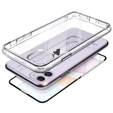 For iPhone 11 Case Clear Front/Back Tempered Glass Shockproof TPU Bumper Cover