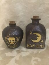 Set Of 2 Glass Potion Bottles Halloween Decor Prop Moon Juice Poison