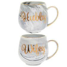 Marble Hubby And Wifey Mug Set Fine China Coffee Tea Cup Home Hot Drinks Mugs