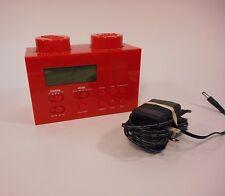 LEGO Portable Alarm Clock AM/FM Radio RED Brick ~ Works Great!