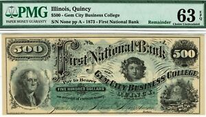 Gem City Business College, Quincy, Illinois. PMG 63 EPQ Choice Uncirculated.