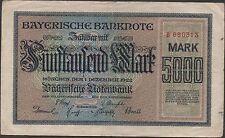 Germany  5000  Mark   Munchen  1.12.1922  prefix B  Circulated Banknote