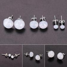 Women Sweet White Round Opal Silver Plated Ear Stud Earrings Jewelry EB 16