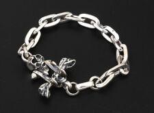 925 Sterling Silver men's skull biker bracelet jewelry P931