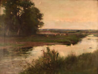 Joseph Milne, 1861-1911. English artist. English landscape with grazing cows.