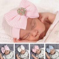 Adorable Newborn Infant Baby Girl Hat Nursery Cap With Bow Cap Beanie Hat Turban
