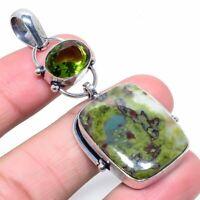 """Euidayalite Peridot Gemstone Handmade Ethnic Jewelry Pendant 2.56"""" VJ-11947"""