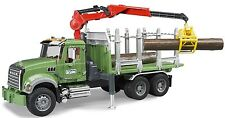 Bruder Toys MACK Granite Kids Timber Truck w/ Loading Crane & 3 Trunks # 02824