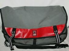"Chrome Citizen Messenger Bag Red/Black Pack GARGOYLE Buckle Tote 20"" w/Patches"