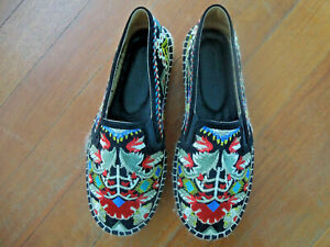 Johnny Was Catopsia Embroidered Espadrille leather lined Slip On Shoes  41/11