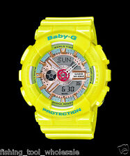 BA-110CA-9A Yellow Baby-G Ladies Watches Analog Digital Resin Band Casio 100m