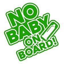No hay Bebé a bordo Divertido Gracioso Coche Furgoneta Parachoques Vinilo Autoadhesivo con hierba verde