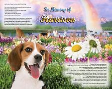 Beagle Dog Memorial Picture-Rainbow Bridge Poem Personalized w/Pet's Name-Unique