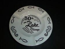 Vtg Mid Century 50th On The Lake Chicago Area Hotel Ceramic Ashtray Seahorses