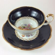 Foley Floral Bouquet Black Bone China Tea Cup And Saucer