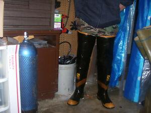 Rare USA Uniroyal Siren Firemaster Firefighters Rubber Waders HIP BOOTS sz 9
