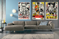QUADRO 3 STAMPE SU TELA SERIE QUENTIN 70X50 LE IENE PULP FICTION KILL BILL